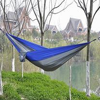 Afranker Portable Nylon Fabric Travel Camping Hammock Blue/
