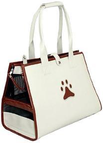 Posh Paw' Pet Carrier, One Size, White/Brown Paw Print