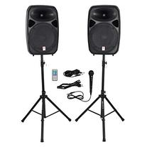 "Rockville Dual 15"" Powered Speakers, Bluetooth+Mic+Speaker"