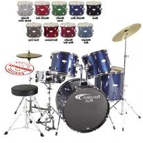 Percussion Plus PP4100BGY 5-Piece Drum Set, Brushed Grey