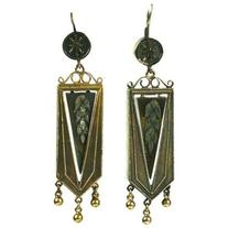 Preowned Articulated Victorian Gold Wheat Earrings