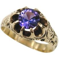 Preowned Victorian Claw Set Amethyst & Gold Ring