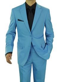 Presidential Giorgio Napoli Men's Two Button Suit Sky Blue