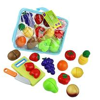 Click n' Play 12 pc Kids Pretend Play Cutting Fruit Toy Set
