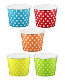 Primary Polka Dot Ice Cream Cups 12 oz - 50 count