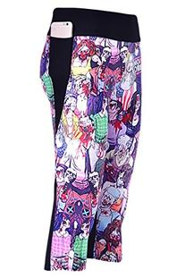COCOLEGGINGS Womens Cartoon Zombie Print 3/4 Length Capri
