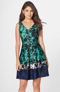 Women's Taylor Dresses Print Scuba Fit & Flare Dress, Size 2