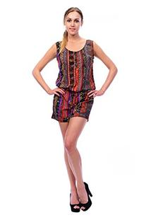 CARAPACE Womens Women's Print Short Romper with Drawstring