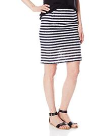Heather Women's Stripe Printed Lace Hi Waisted Pencil Skirt