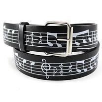 Enimay Printed Leather Belts Music Note Black Medium