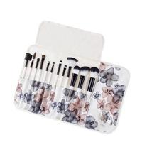 Professsional 12 Piece Floral Make-Up Brush Set with Vegan