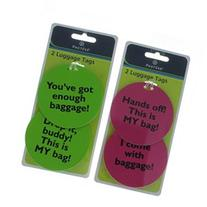 Set of 4 Protege Humorous Luggage Tags Round Green/Pink