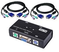 2 Port Ps/2 Kvm Switch W/2 Cable Sets - Compact Design