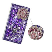 Spritech PU Leather Wallet Case 3D Handmade Bling Purple