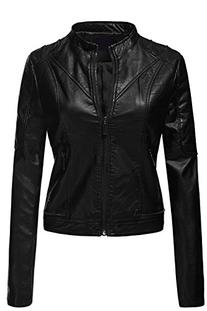 Pu Quilted Moto Biker Faux Leather Jackets  006 Black  Small