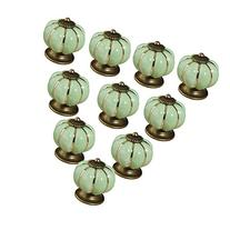 KINGSO 10pcs Pumpkin Ceramic Door Knobs Drawer Pull Handle