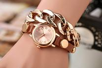 Domire Punk Women Gold Dial Leather Chain Wrap Analog Quartz