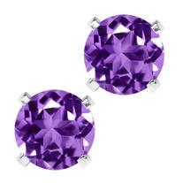 Sterling Silver Round Purple Amethyst Women's Stud Earrings