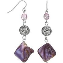 Purple Composite Shell Nickel Free Beaded Drop Earrings