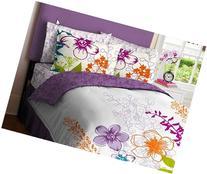 Purple, Green, Orange & White Girls Multi Flower Full