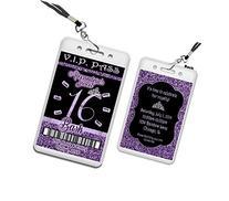 Purple Glitter Sweet 16 VIP Pass Lanyard Birthday Invitation