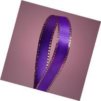 "Purple Satin Ribbon with Gold Edges, 3/8"" X 50Yd"