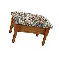 Queen Anne Style Footstool w Storage in Oak Finish