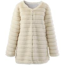 Chicwish Quilted Faux Fur Coat in Cream