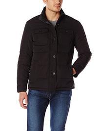 Perry Ellis Men's Quilted Four Pocket Jacket, Black, X-Large