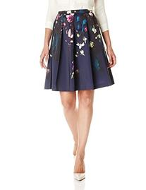 Ted Baker Women's Quirina Floral Flared Skirt, Dark Blue, 1