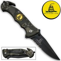 """R-80-CA. Trigger Assist 8"""" Tactical Knife """"Don't Tread On Me"""