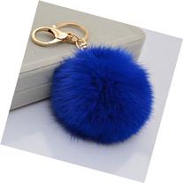 ANKKO Rabbit Fur Plush Ball Gold-Plated Keychain Keyring Car