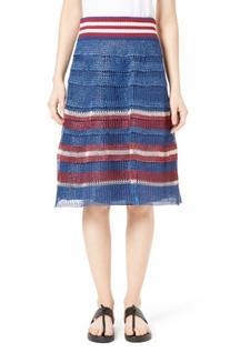 Women's Red Valentino Raffia Knit Skirt, Size Large - Blue