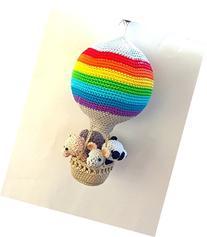 Rainbow nursery hot air balloon decoration, crochet animals