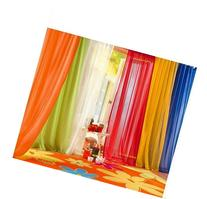6 Piece Rainbow Sheer Window Panel Curtain Set Blow Out