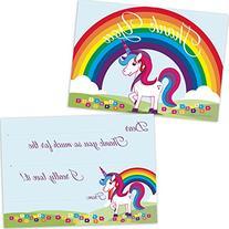 Rainbow Unicorn Kids Birthday Fill In Thank You Cards