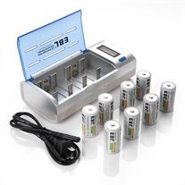 EBL LCD Rapid C/D/9V/AA/AAA Universal Battery Charger with 8