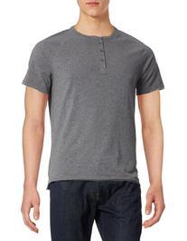 Calvin Klein Jeans Raw Edge Henley T-Shirt-GREY-Medium