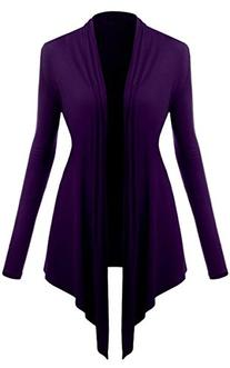 ACEVOG Womens Rayon Jersey Draped Open Front Long Sleeve