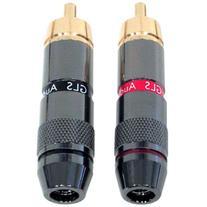 GLS Audio RCA Plugs 24K Gold Speaker Plug - 8 Pack