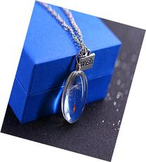 Angela_max Real Dandelion Seed Pendant Necklace Glass Oval
