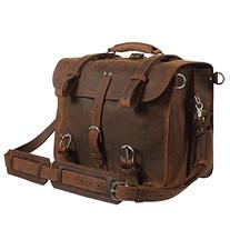 Texbo Men's Thick Cowhide Leather 16 Inch Laptop Shoulder