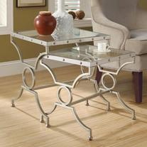 Monarch Rectangular Satin Silver Nesting Tables with