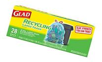 Glad Recycling Drawstring Large Trash Bags, Blue, 30 Gallon