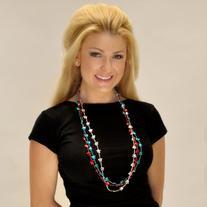 Red, White & Blue Star Mardi Gras Beads