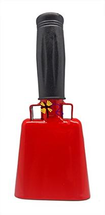 6.1 inch Red Bell Black Handle Cowbell with Stick Grip
