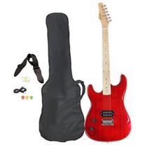 Red Full Size Electric Guitar with Case Strap Pics and