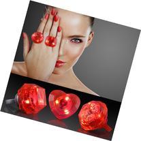 Red Huge Gem Light Up LED Rings