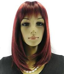 Diy Women's Medium Size Wine Red Color Oblique Bangs Heat-
