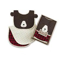 Baby Aspen Boys Red Plaid Happy Camper Bib and Burp Set